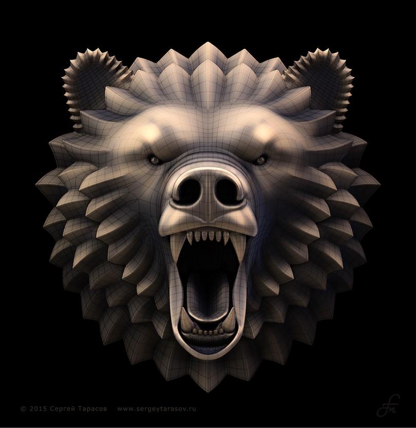 3D-скульптура (барельеф) головы ревущего медведя