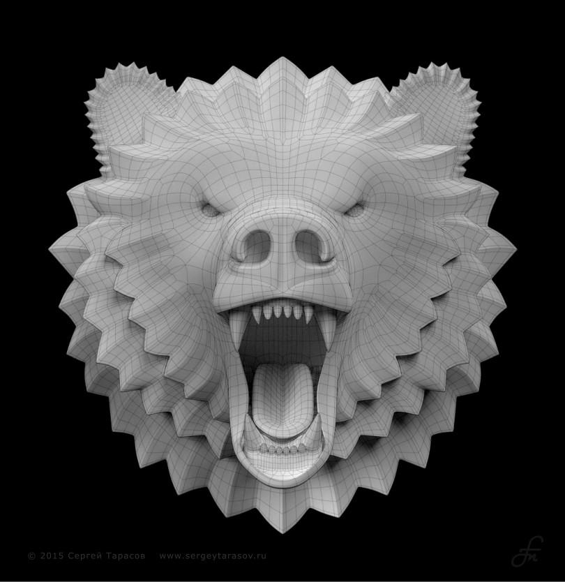 3D-скульптура, барельеф головы ревущего медведя