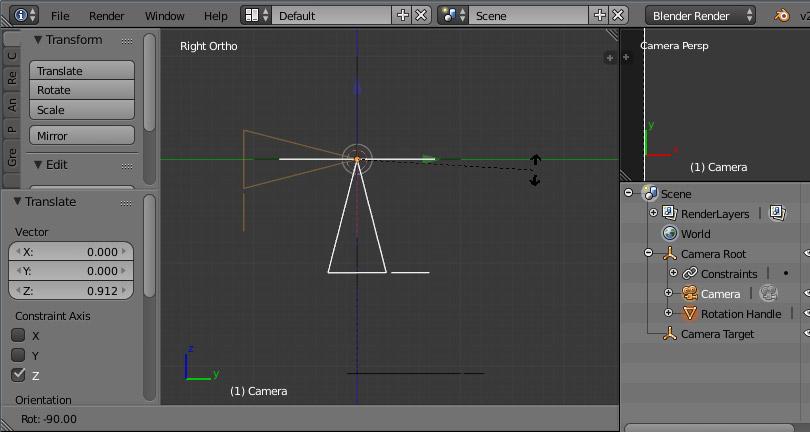 Окно «3D View» Blender с настройкой рига