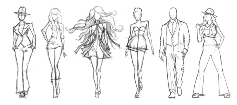 Описание: Карандашные эскизы фигур моделей.
