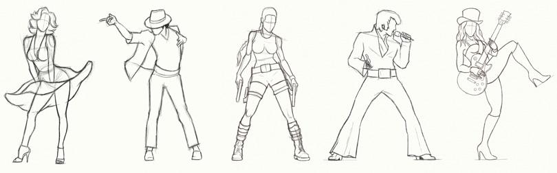 Эскизы персонажей заставки