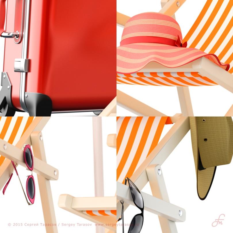 Фрагменты иллюстрации на тему «Летний семейный отдых»
