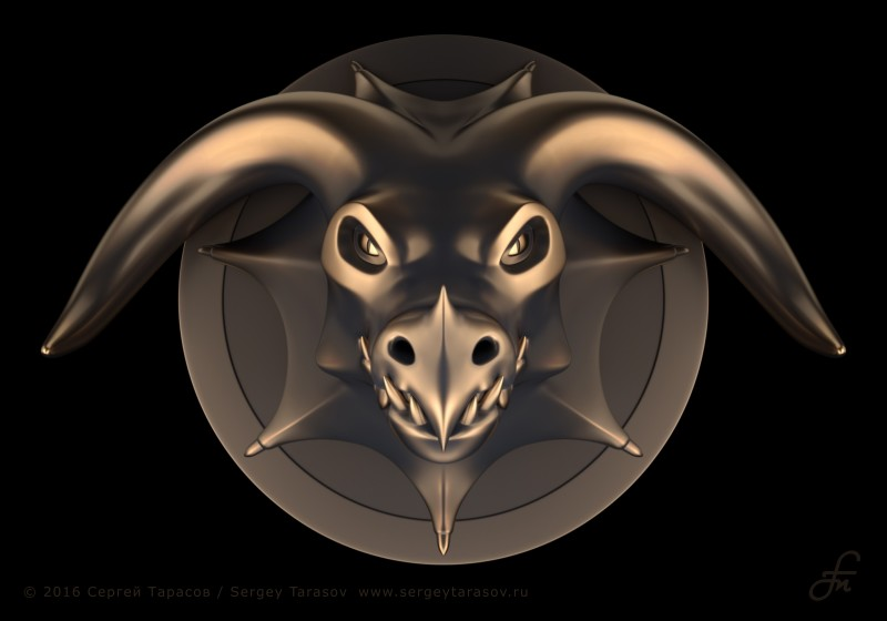 3D-скульптура (барельеф) головы дракона