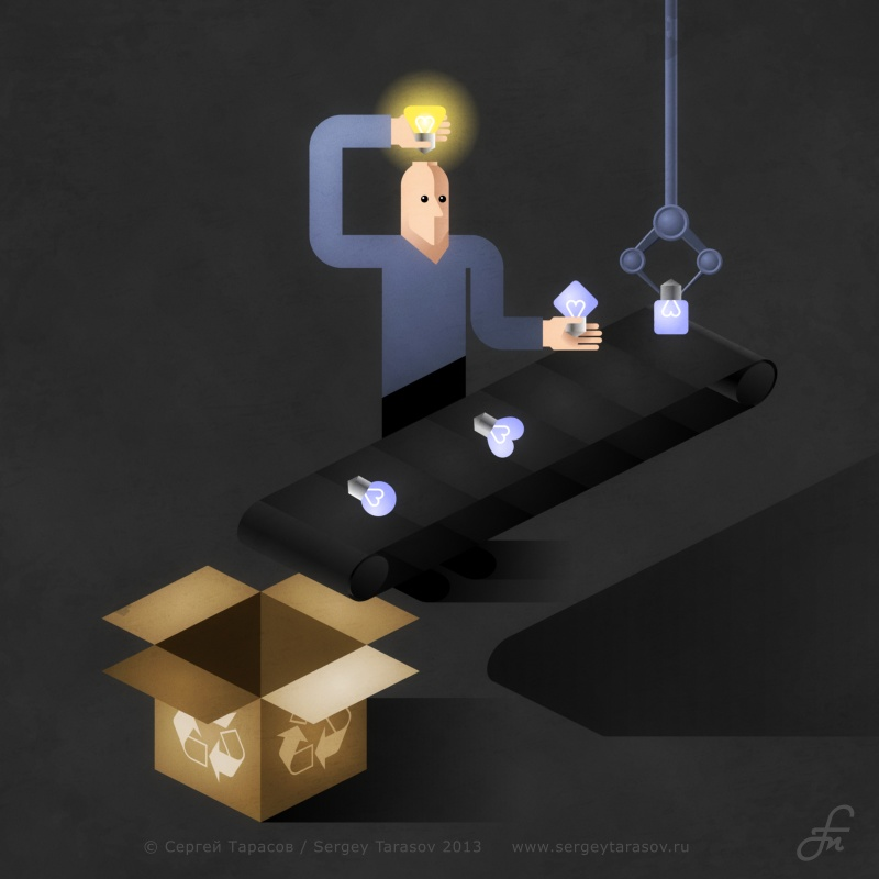 idea man light bulb conveyor