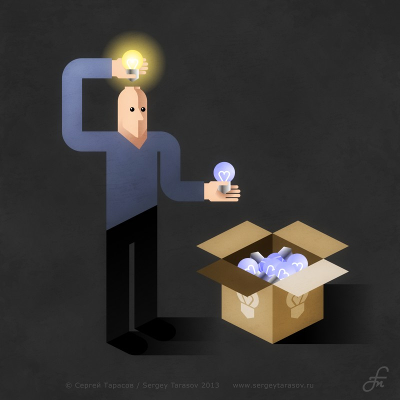 idea man light bulb
