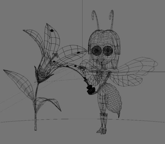 персонаж пчелы во вьюпорте Blender'а - режим визуализации: сетка