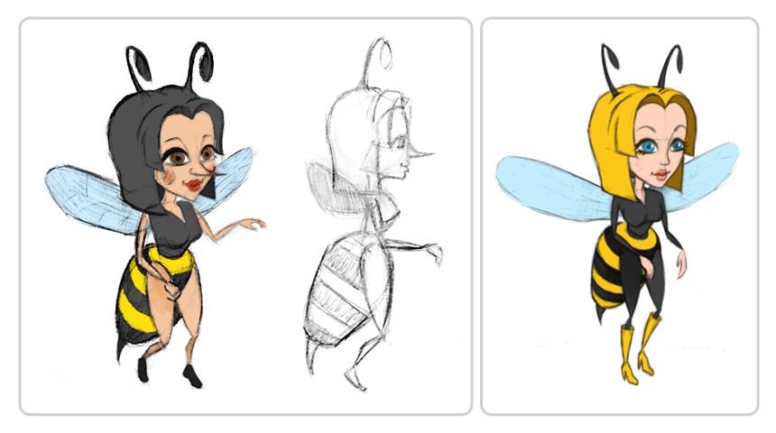 Предварительные эскизы пчелы