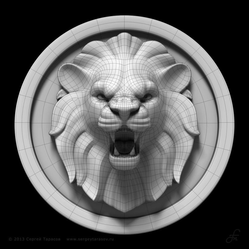 3D-скульптура (барельеф) головы льва
