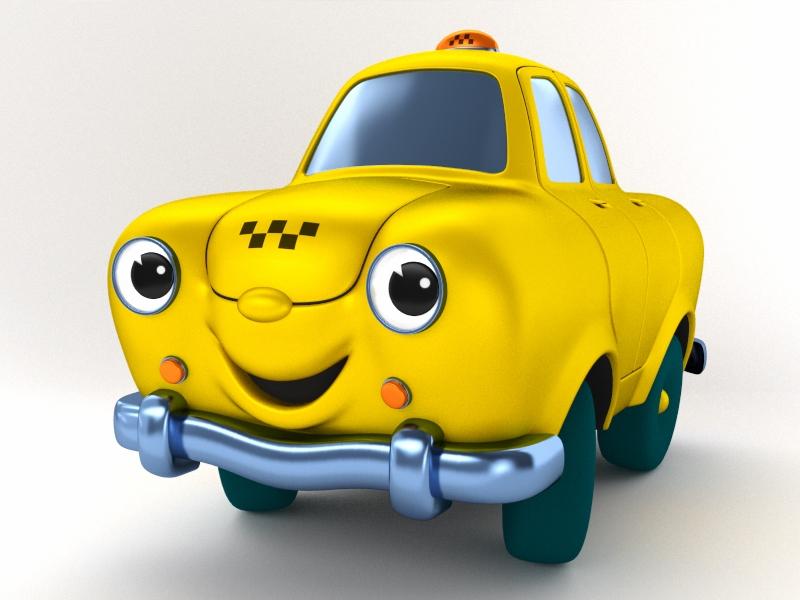Визуализация анимационного 3D-персонажа такси «Сатурн»