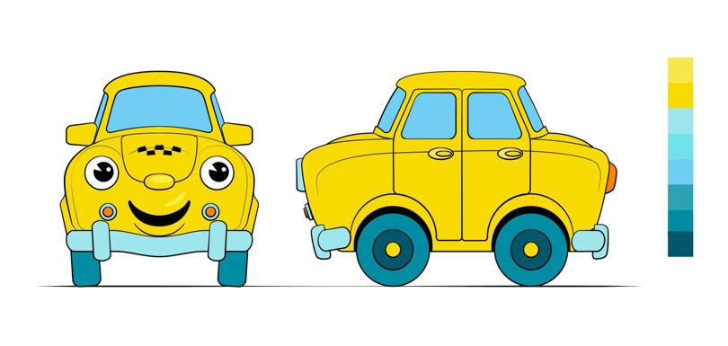 Эскизы для анимационного 3D-персонажа такси «Сатурн»